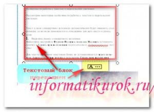 Не весь текст размещен в текстовом блоке
