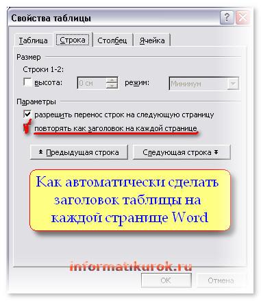 Как автоматически сделать заголовок таблицы на каждой странице Word?