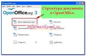 Структура документа в OpenOffice.