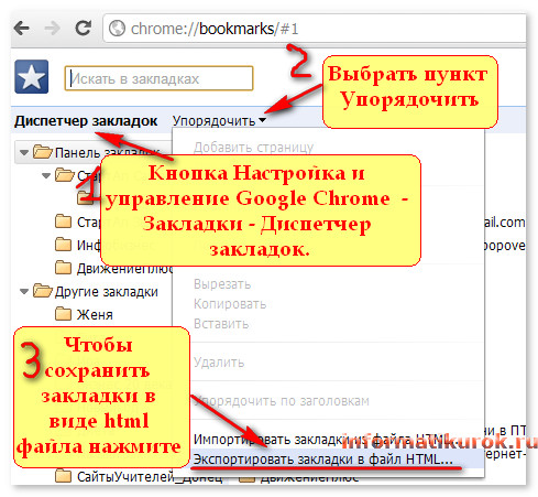 Окно Диспетчера закладок в Google Chrome