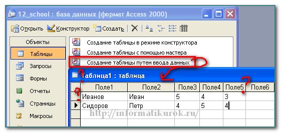 Созданием таблицы путем ввода данных